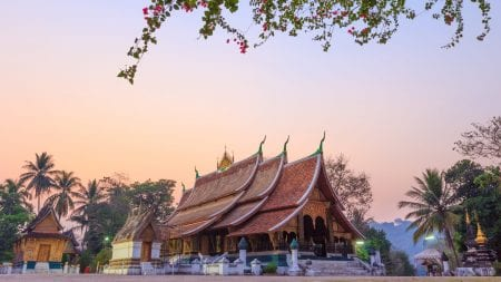 Far view of Wat Xieng Thong in Luang Prabang, Laos, included in tours offered by Asia Vacation Group