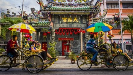 Colonial District Street Scene Cyclo in Georgetown, Penang, Malaysia, included in tours offered by Asia Vacation Group