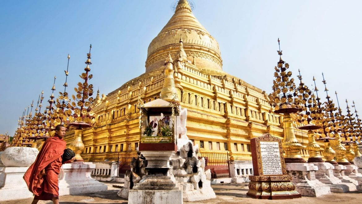 Shwezigon pagoda in Bagan, Myanmar, included in tours offered by Asia Vacation Group