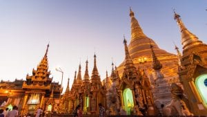 Shwedagon Pagoda in Yangon, Myanmar, included in tours offered by Asia Vacation Group
