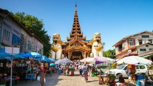 Market east of Yangon, Myanmar, included in tours offered by Asia Vacation Group