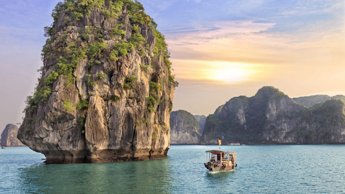 Rock formations with cruise at Halong Bay, Vietnam, included in tours offered by Asia Vacation Group