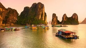 Ha Long Bay Floating village, included in tours offered with Asia Vacation Group