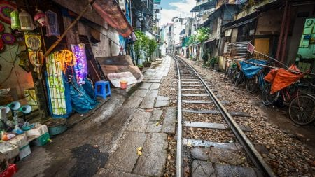 Train tracks in small alley in Hanoi, Vietnam