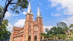 Saigon Notre Dame church, Vietnam, included in tours offered by Asia Vacation Group